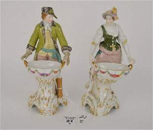 TWO KPM GERMAN PORCELAIN FIGURES - Male and female