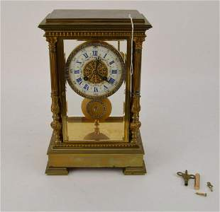 ANTIQUE FRENCH BRONZE & CRYSTAL REGUALTOR CLOCK  with