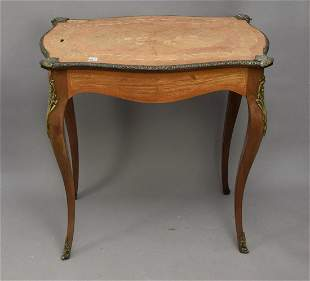 French Marquetry side table with gilt metal mounts, top