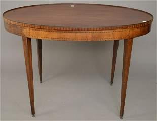 "19th C. Oval Inlay Mahogany Hepplewhite table, 29 1/2""h"