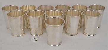 SET 12 SILVER PLATED MINT JULIP CUPS by International