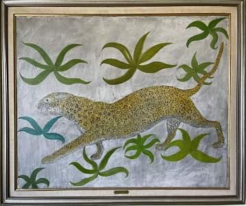 Henri Maik (French) Large oil on canvas, JAGUAR - 1965