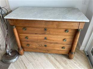 19TH CENTURY CHEST OF DRAWERS with white marble top.