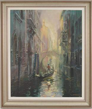 Italian School oil on canvas signed illegibly, Venice