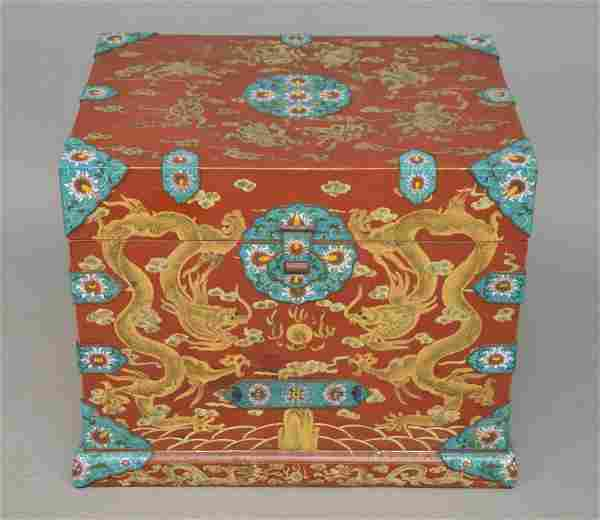 CHINESE RED LACQUER & CLOISONNE TRUNK. The red lacquer