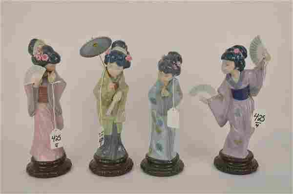 FOUR LLADRO PORCELAIN JAPANESE GEISHA GIRL FIGURES -