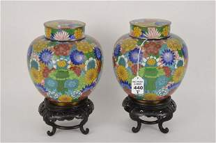 PAIR CHINESE CLOISONNE GINGER JARS - Colorful cloisonne