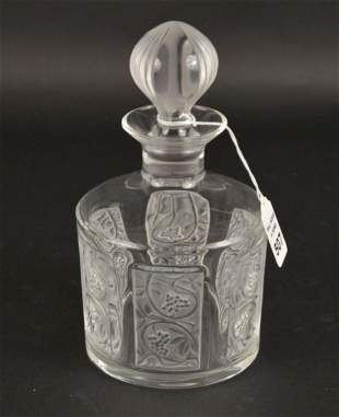 LALIQUE CRYSTAL GRAND MARNIER DECANTER WITH GRAPE MOTIF