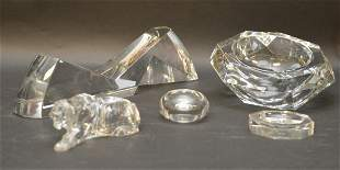 FIVE BACCARAT CRYSTAL ARTICLES - Baccarat France clear