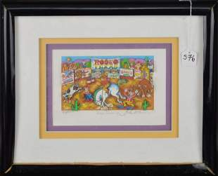 "Charles Fazzino  ""Rodeo Round Up"" 3D Pop Art - Numbered"