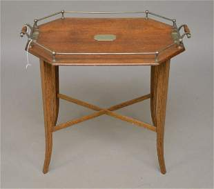 19th Century English Oak Tray Table with metal Gallery,