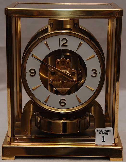 "1: Jaeger LeCoultre Atmos clock, glass & brass, 6 1/2"""