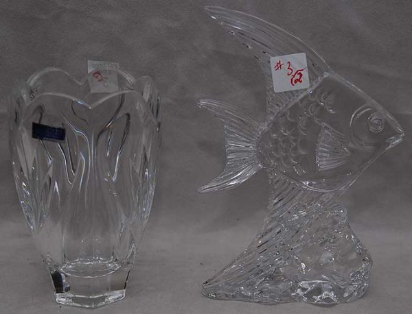 "3: 2pcs, Waterford crystal fish & vase, fish 8 1/2""h, v"