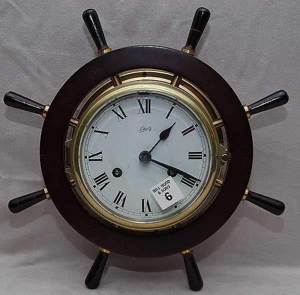 "6: Schatz German ships wheel clock, 13""dia"