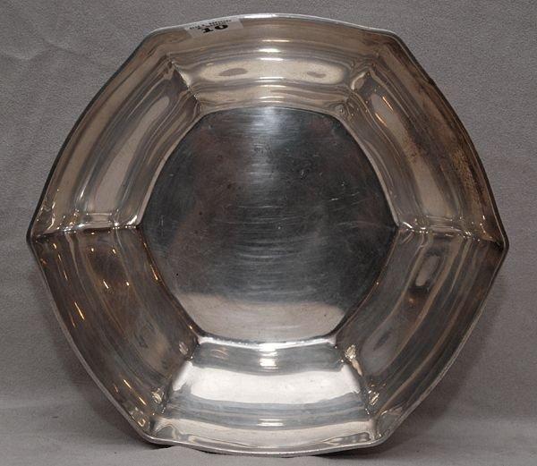 "10: Tiffany & Co. hexagonal shaped bowl ""18165 makers 9"