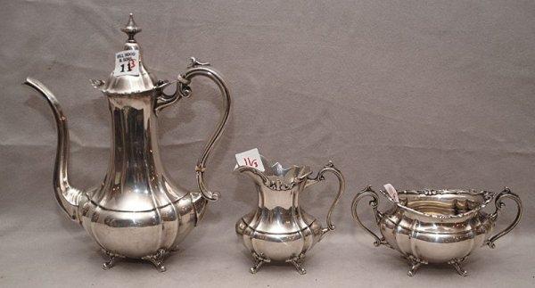 "11: Sterling tea set, ""Hampton Court"" 3pc incl; teapot,"