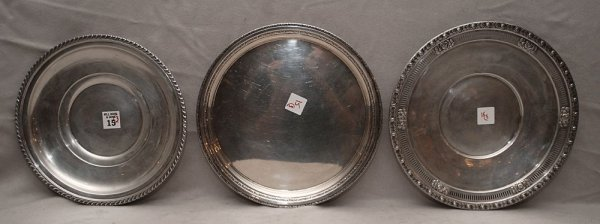 """15: 3 round sterling trays, 1 is reticulated """"Royal Ros"""