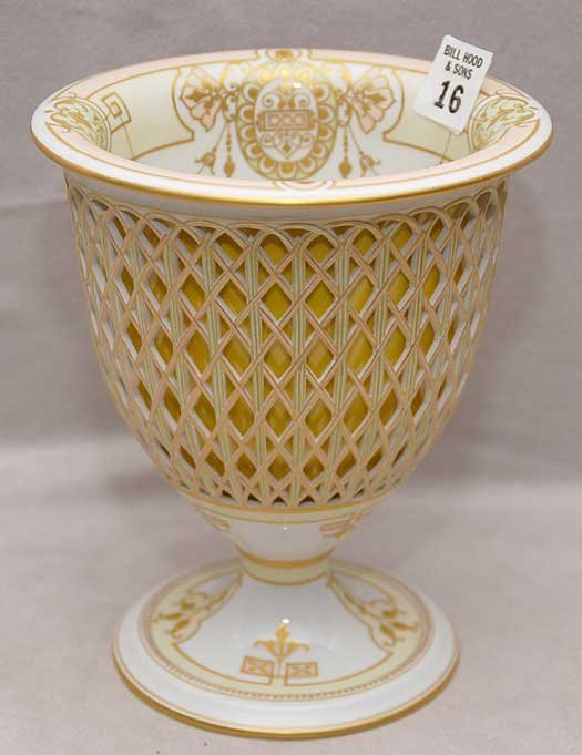 16: KPM reticulated compote with fitted interior bowl,