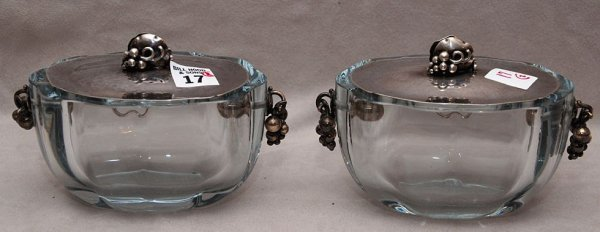 """17: Pair of glass candy dishes with sterling lids """"DGH"""