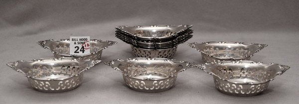 24: 12 Gorham sterling reticulated nut dishes,
