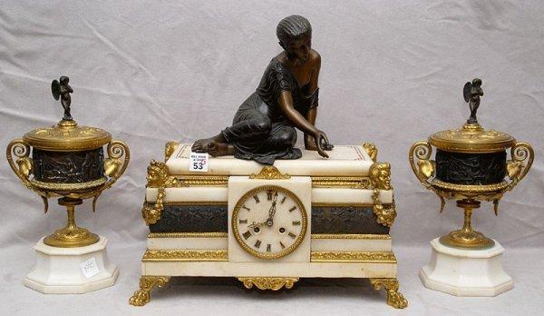 "53: 3pc bronze & marble clock set, clock is 15 1/2""h,"