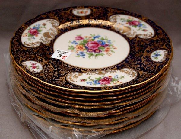 3: 11 Lenox plates with cobalt & gilt border & floral b