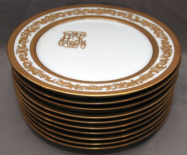 4: 10 Limoges France dinner plates with gold border and