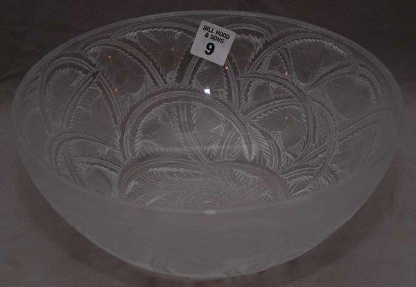 "9: Very large ""Lalique, France"" bowl, 9 1/4 ""dia x 3  1"