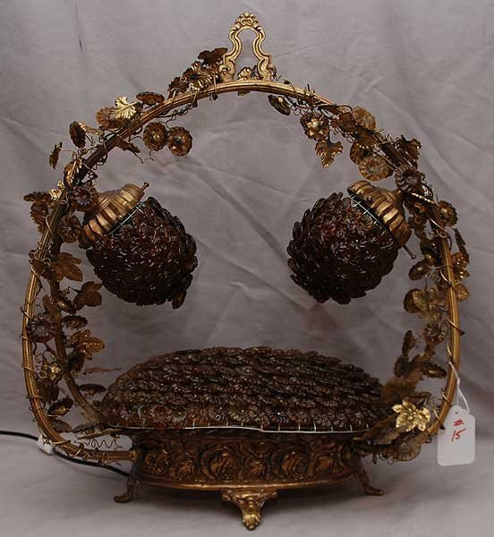 15: Unusual lamp in basket form, gold wired leaves on h