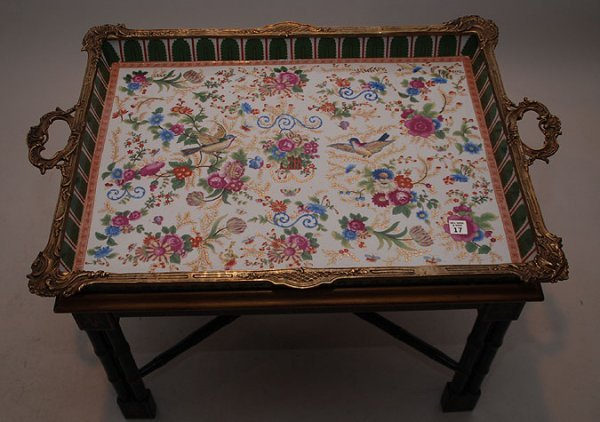 17: Large porcelain & bronze tray table with birds & fl