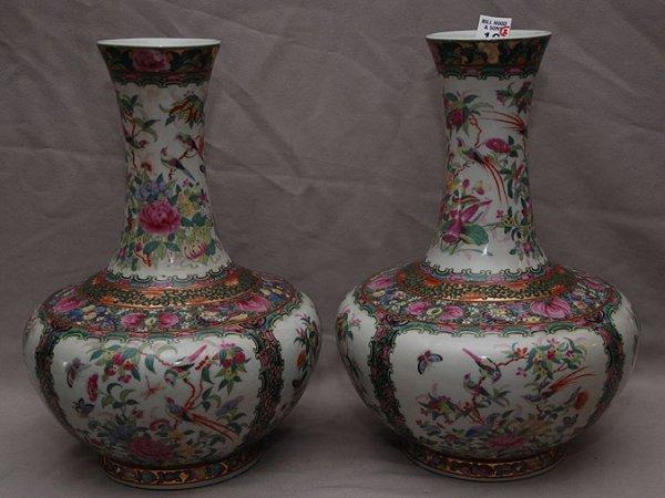 """18: Pair of Rose Medallion porcelain vases, 13""""h"""