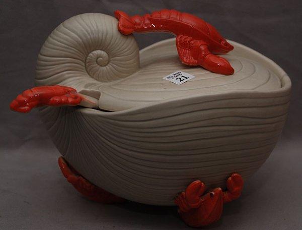 21: Large covered lobster motif tureen & ladle, signed