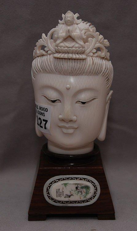 "127: Ivory buddha head on stand, head is 4 3/4""h"