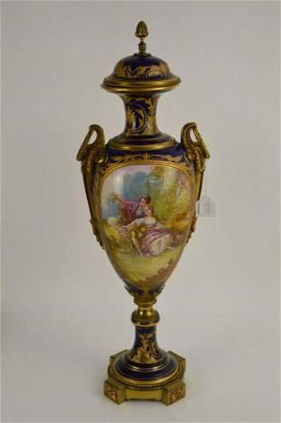SEVRES Cobalt & Gilt Porcelain Pictorial Urn -