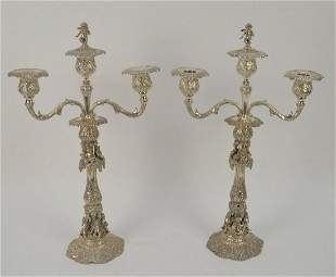 Pair Antique German 800 Silver Figural Putti
