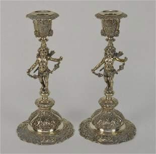 Pair Antique German 800 Silver Figural Cupid