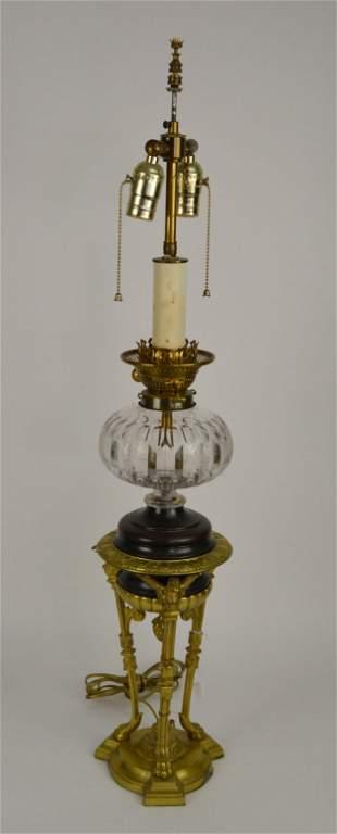 Continental Gilt Bronze & Glass Tripod Oil Lamp - now
