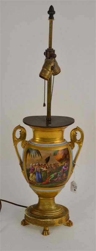 Old Paris Porcelain Pictorial Urn-Form Lamp - Central