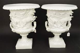 PAIR LARGE CAPODIMONTE PORCELAIN URNS with Grecian