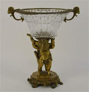19th Century French Gilt Bronze & Crystal Figural