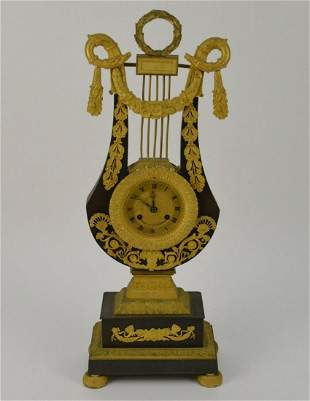 Antique Bronze French Empire Harp Clock - Patinated and