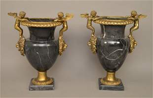 Pair Large Bronze & Marble Urns with figural angels.