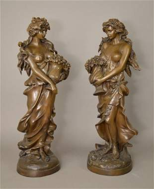 Large Pair Bronze Sculptures Classical Maidens. The