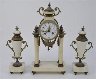 19th Century Bronze & Marble Clock Garniture. The