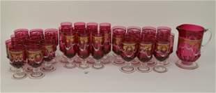 33 PCS Venetian Ruby Glass Stemware Set Gilded &