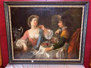 Antique Continental School Old Master Oil on Canvas 36