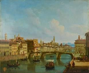 ATTR. Giuseppe Zocchi Italian b.1711 Arno River Bridge