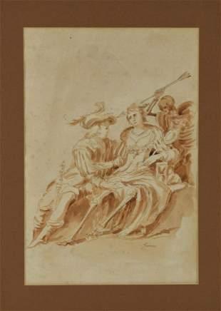 ATTR. Guercino (Italian b.1591 -d.1666). Ink Drawing