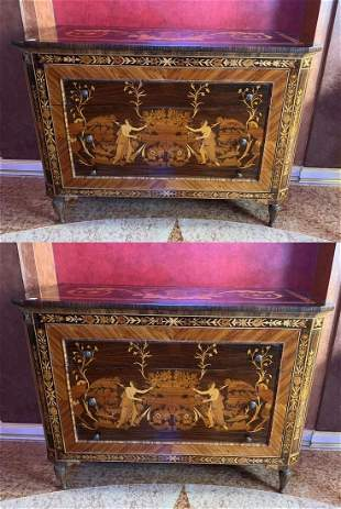 Pair Italian Inlaid 3 Drawer Chests, signed by artist,