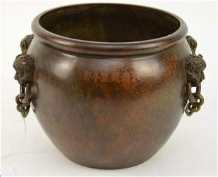 Chinese Bronze Lion-Head Jar - Rich brown patina on